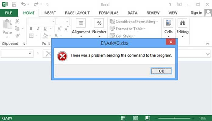 Khắc phục lỗi exel there was a problem sending the command to the program